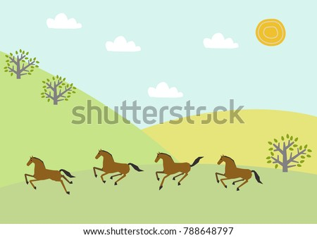 Horse herd and spring plant.Image of spring. Spring landscape. Illustration of Mountain of Spring.   Illustrations of the four seasons.