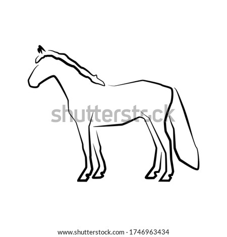 horse icon outline vector