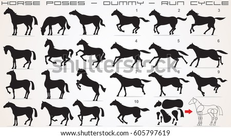 Horse Icon Set. Horses Vector Clip Art. Isolated Silhouettes
