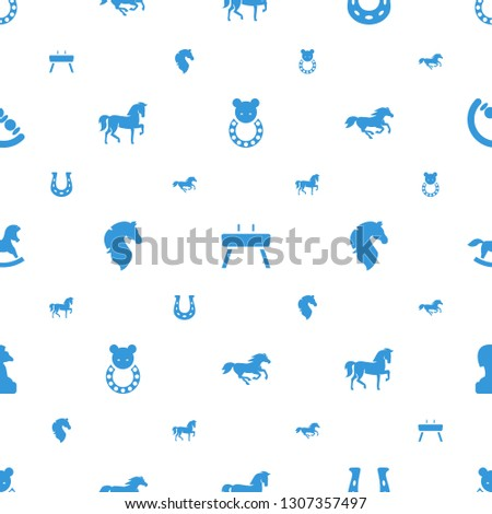horse icons pattern seamless white background. Included editable filled baby toy, gymnastic apparatus, horseshoe, horse toy, chess horse icons. icons for web and mobile.