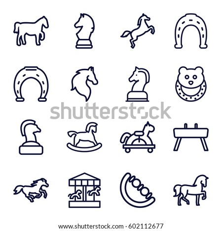 horse icons set. Set of 16 horse outline icons such as horse, baby toy, Horseshoe, gymnastic apparatus