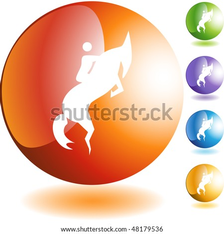 Horse jockey stick figure isolated web icon on a background.