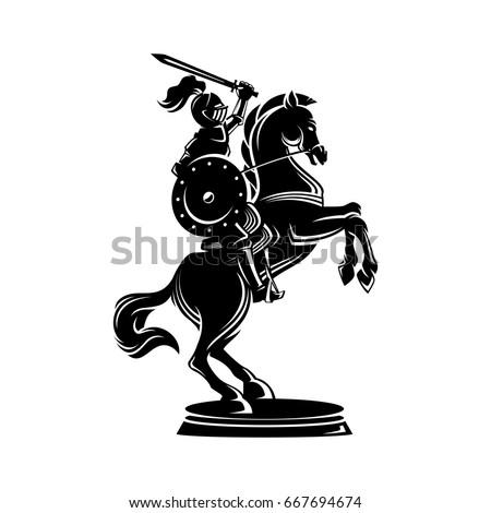 horse knight illustration in