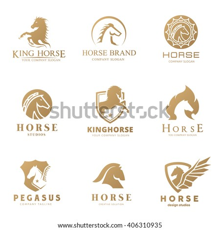 Horse logo collection design set for luxury brand identity, sports, VIP club, hotel, fashion, Animal vector symbols.