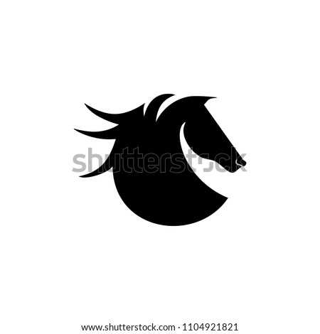 Horse logo in black and white. Catchy icon vector illustration.