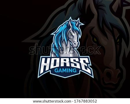 Horse mascot sport logo design. Mustang animal mascot vector illustration logo. Wild horse mascot design, Emblem design for esports team. Vector illustration
