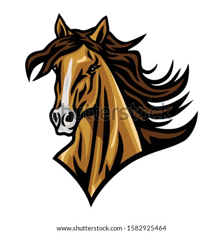 horse mustang head logo cartoon