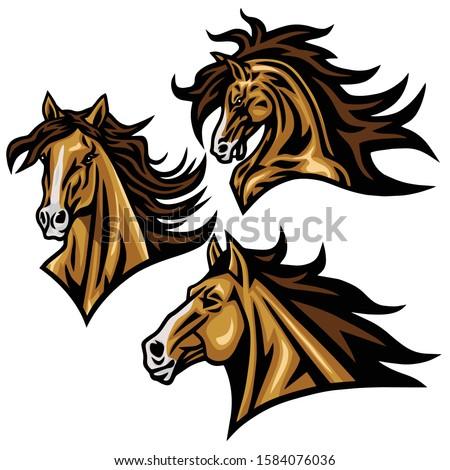 horse mustang head logo vector