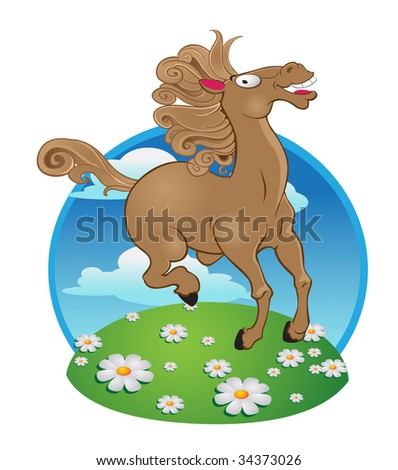 horse on color background