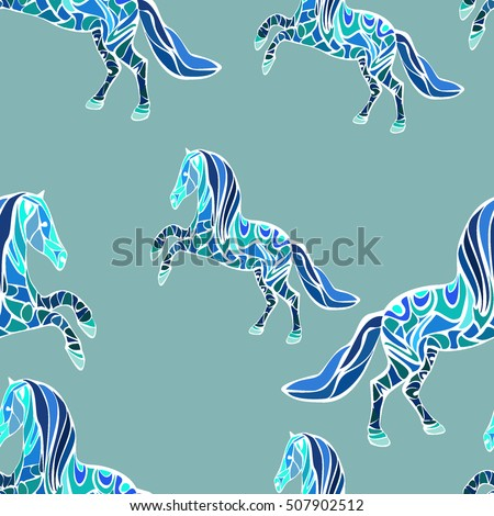 horse pattern with a mosaic of