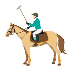 Horse polo player. Badges and design elements. Sport polo player with mallet. Polo stick