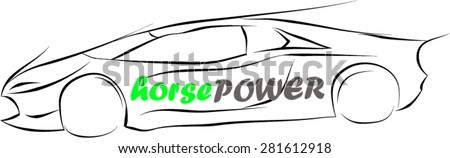 Stock Photo Horse Power Sketch Car