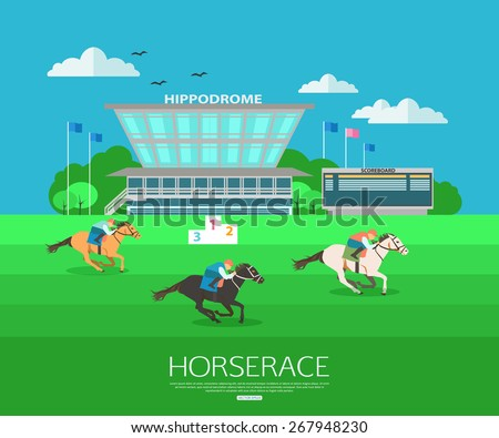 Horse race background with place for text. Flat style design. Vector illustration.