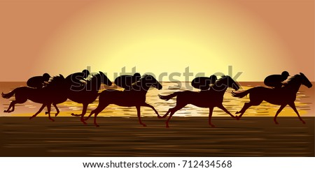 horse race in a beach