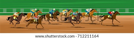 Horse race in a racecourse ストックフォト ©