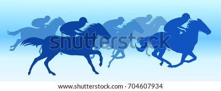 Horse race in Blue background silhouette