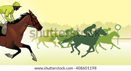 Horse Racing Competition Jockeys On Horses Galloping The Racetrack Silhouettes Of