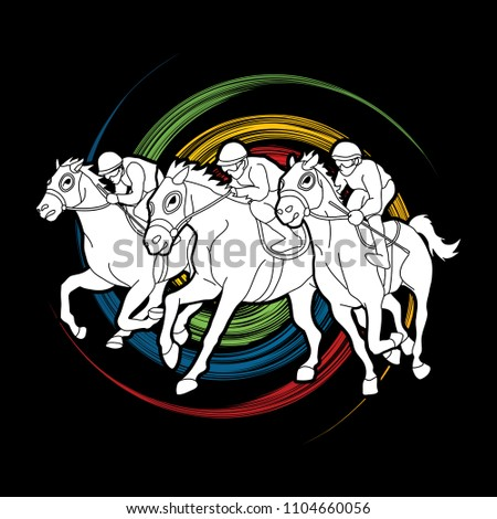 Horse racing ,Horse with jockey designed on spin wheel background  graphic vector.