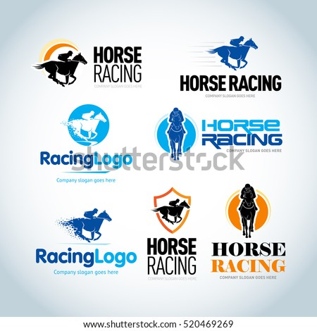 Horse Racing logotype templates set. Horse racing emblems template. Isolated vector logo variations.