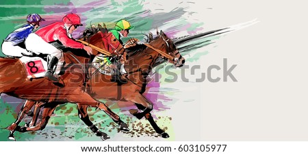 horse racing over grunge