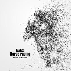 Horse racing, particle divergent composition, vector illustration.