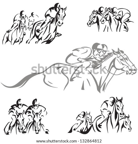 Horse racing themes Dynamic horse-racing scenes based on brush drawings.