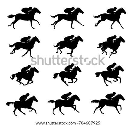 Horse rider Run Cycle silhouette