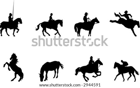 horse rider silhouettes