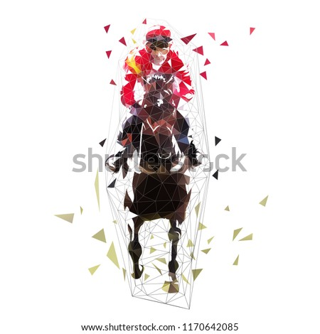 Horse riding, abstract polygonal vector illustration. Front view