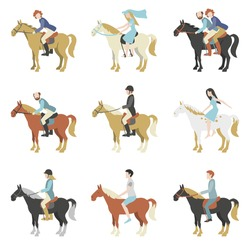 Horse riding lessons. Vector illustration in a flat style.