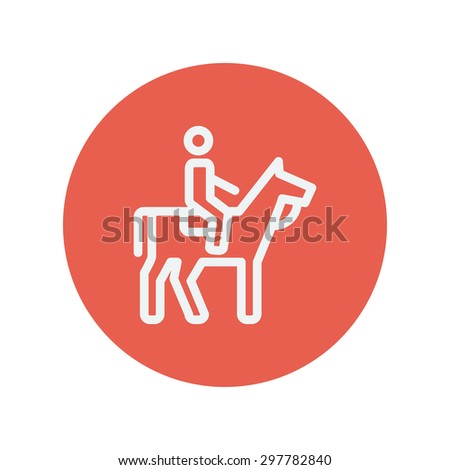 horse riding thin line icon for