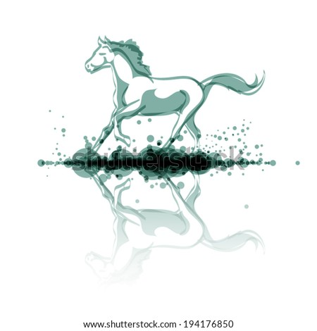 horse riding through water with