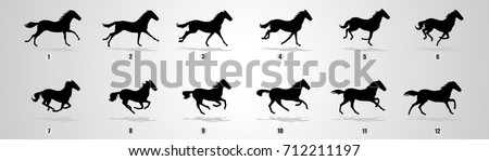 horse run cycle silhouette for