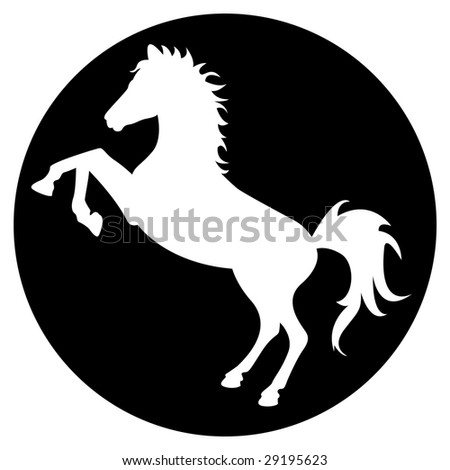 horse silhouette in black circle stock vector illustration