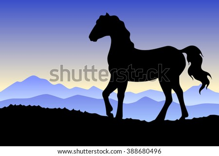 horse silhouette landscape