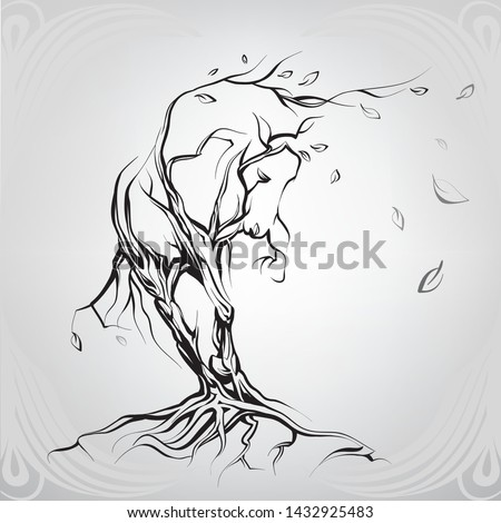 horse silhouette of trees and