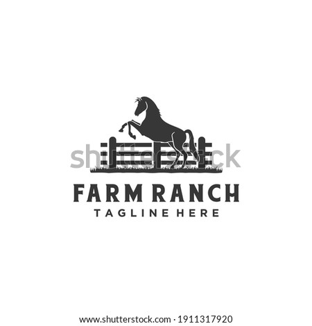 Horse silhouette wooden fence paddock for vintage retro rustic countryside western country farm ranch logo design Photo stock ©