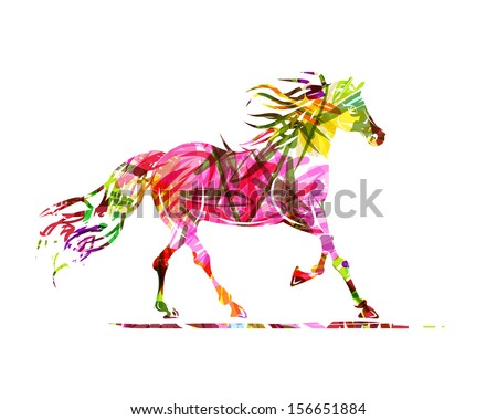 horse sketch with floral