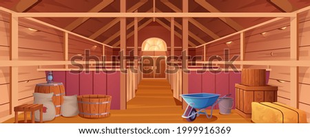 Horse stable interior or barn for animals. Farm house inside view. Empty wooden ranch with stalls, haystacks, sacks, gate and window under roof. Countryside building cartoon vector illustration. Foto stock ©