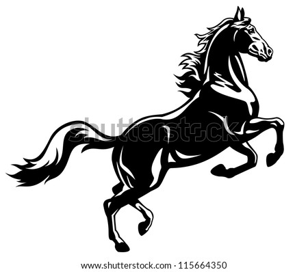 horse,stand up,vector image,black and white picture isolated on white background,rearing stallion,tattoo illustration