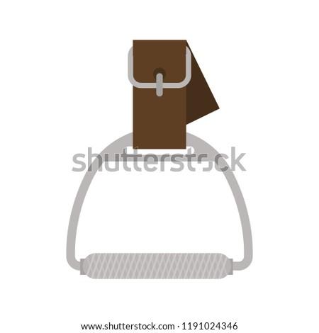Horse stirrup color vector icon. Flat design