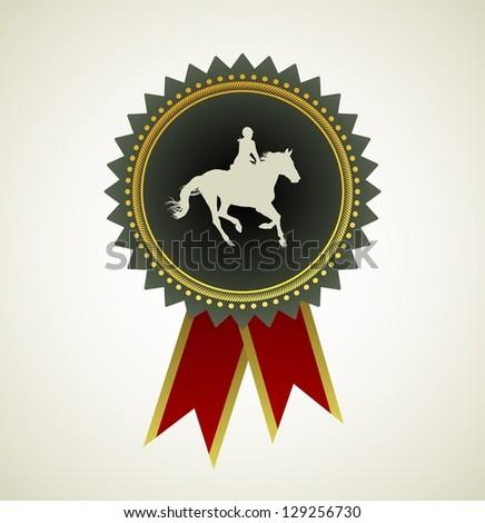 Horse Symbol Award Rosette Red Ribbon Icon