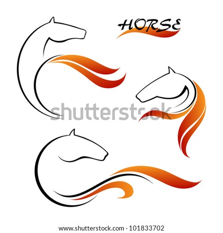 Horse symbol vector and red tongues of flame