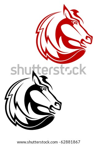 Horse tattoo symbol for design isolated on white - also as emblem or logo template