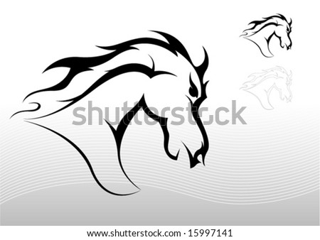 tribal horse tattoo. stock vector : Horse tattoo