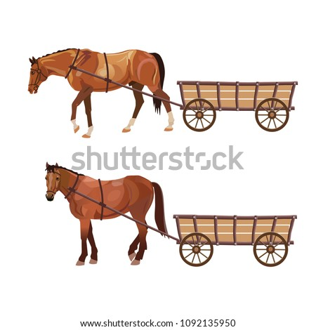 horse with cart set of vector