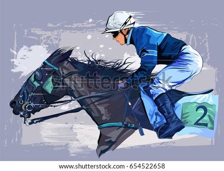Horse with jockey on grunge backround - vector illustration