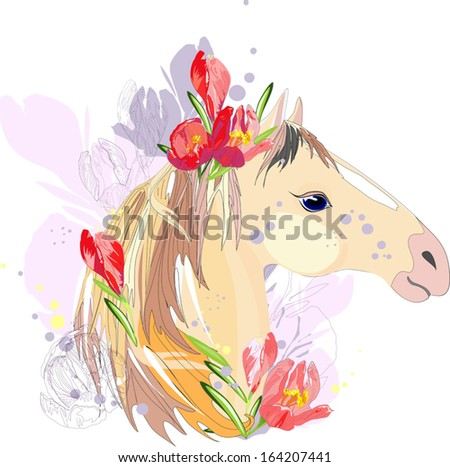 horse with red flowers