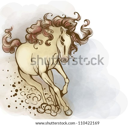 Horse yellowish, with a bright tail and mane. He runs to meet large.