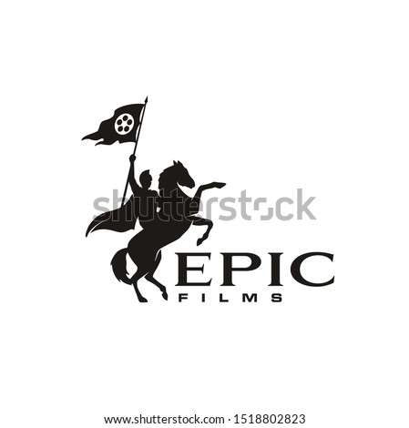 Horseback Knight Silhouette, Horse Warrior Paladin Medieval logo design with movie film cinema reel